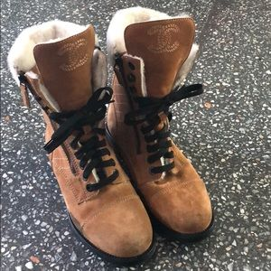 RARE SUEDE & SHEARLING COMBAT BOOTS